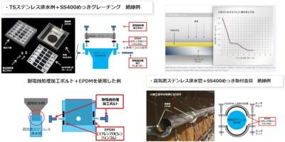 橋梁用ステンレス排水装置 絶縁等の説明