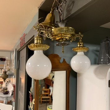 Two globe Brass Ceiling Fixture
