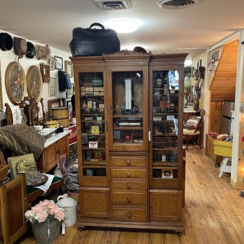 Late 1800's Oak Medical Cabinet and contents.