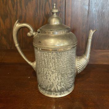 Grey graniteware coffee pot