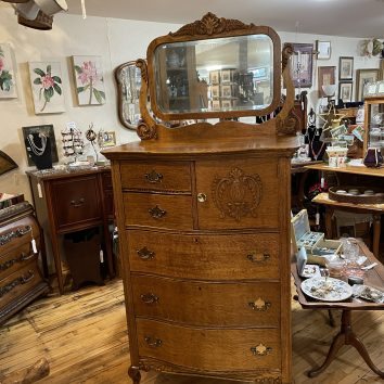 Serpentine Hat Box Dresser with Ornate Mirror
