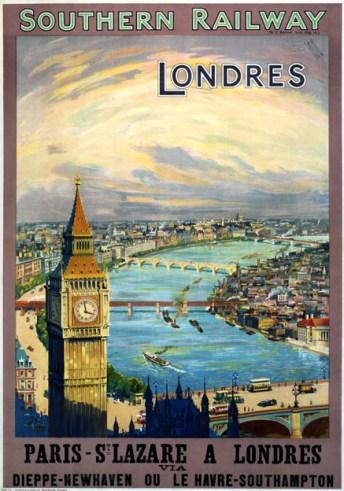London-Paris, St Lazare Southern Railway Travel Poster