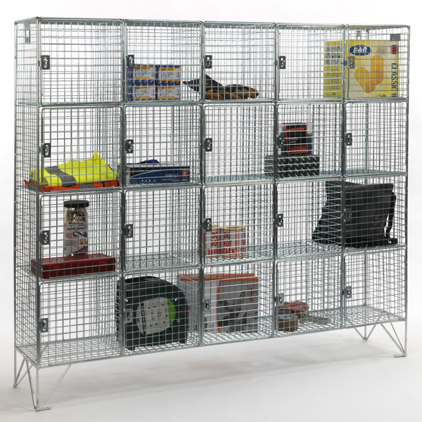 20 compartment wire mesh lockers