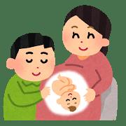 赤ちゃんの胎動を確認する夫婦のイラスト