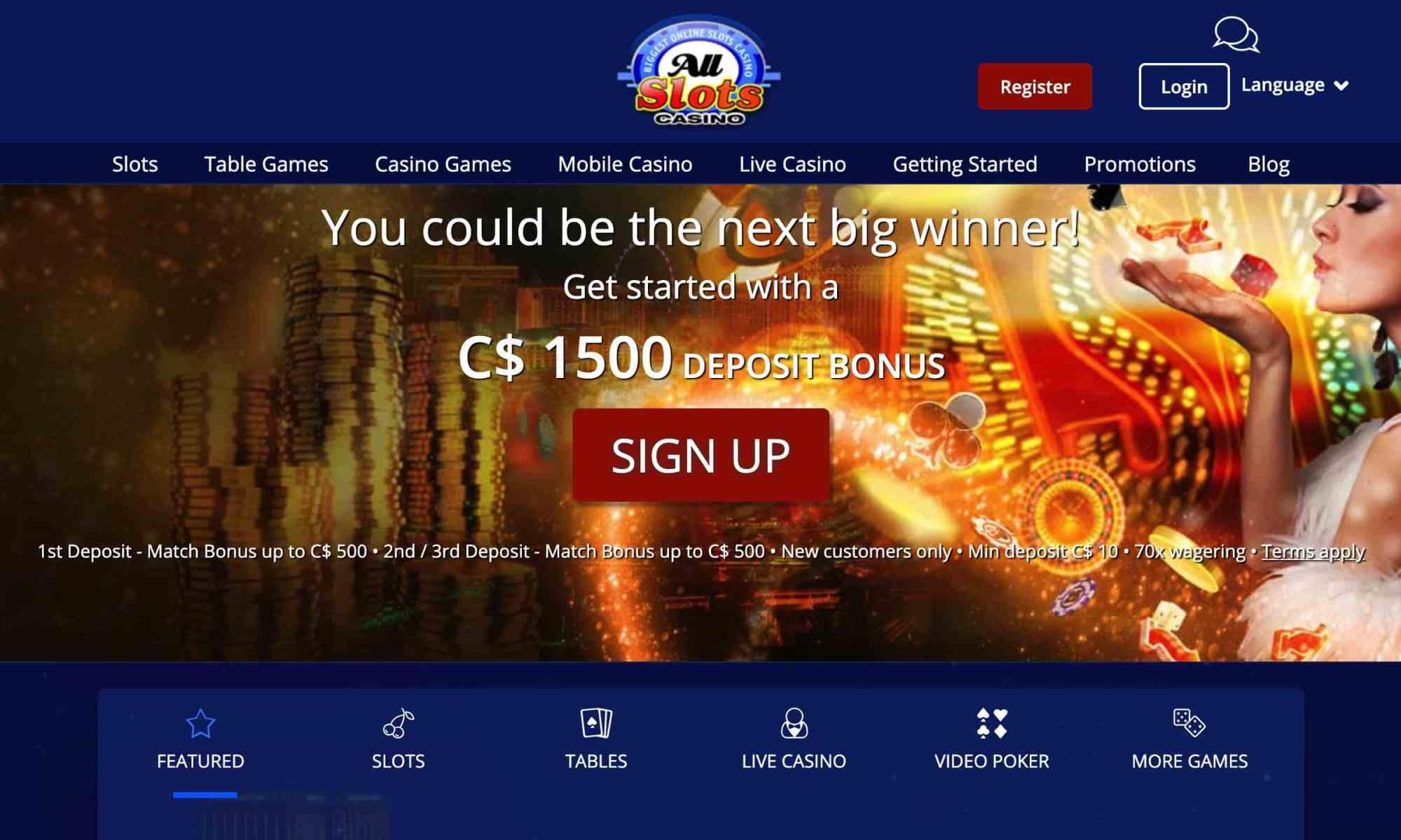 All Slots Casino - Claim A 300% Deposit Bonus Now!