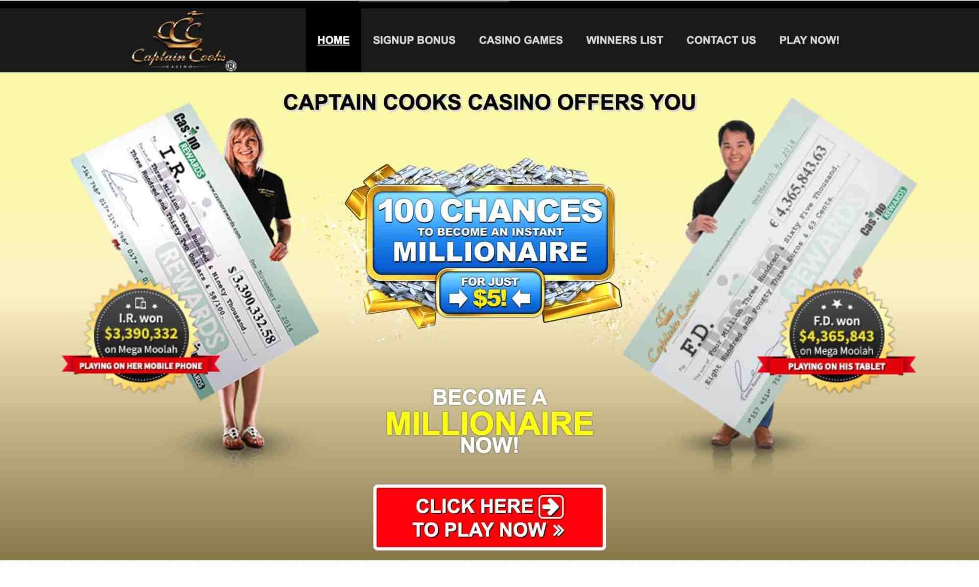 Captain Cooks Casino: mega moolah + 100 chances to win big