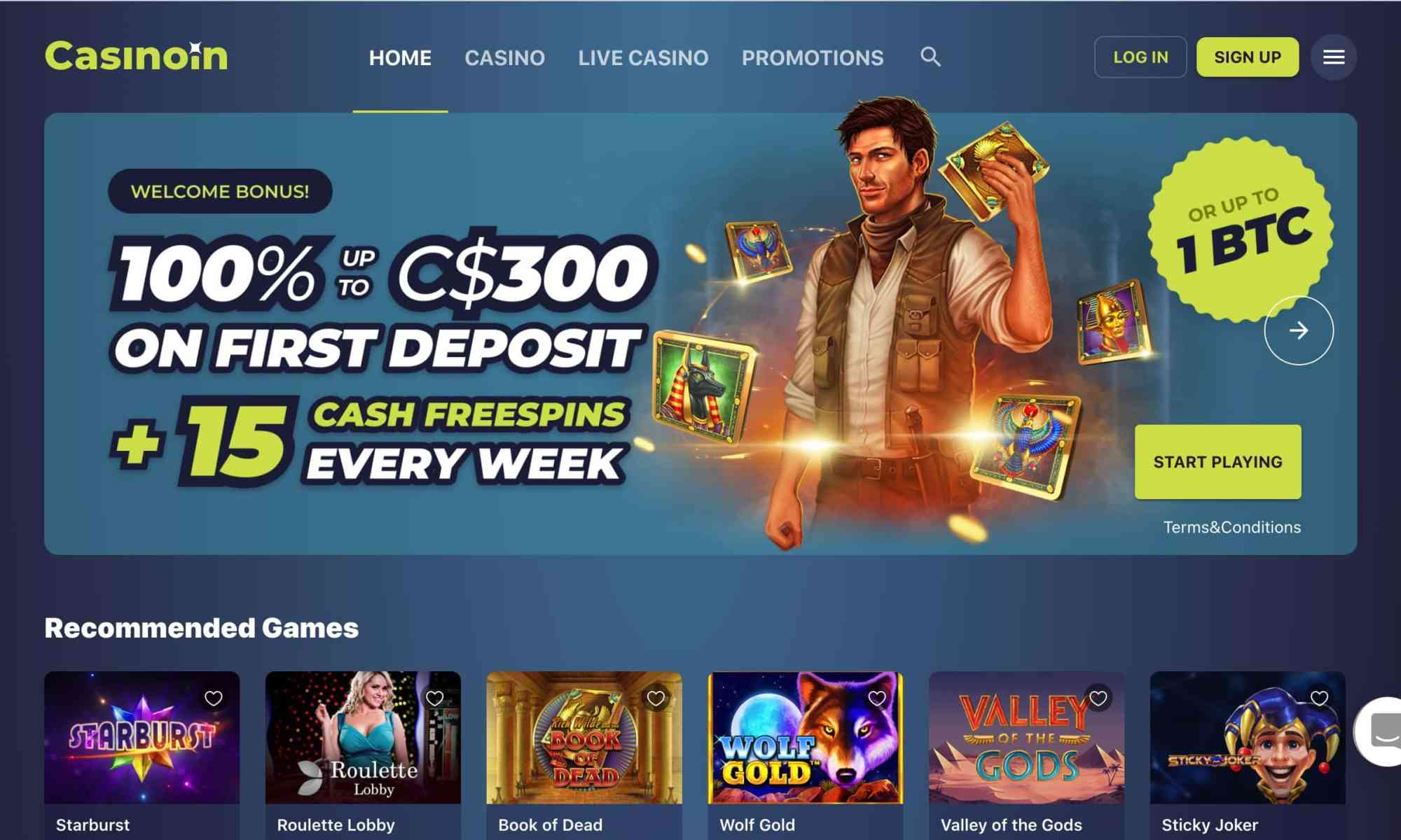 Casinoin - Get 100% deposit bonus + 15 free spins every week