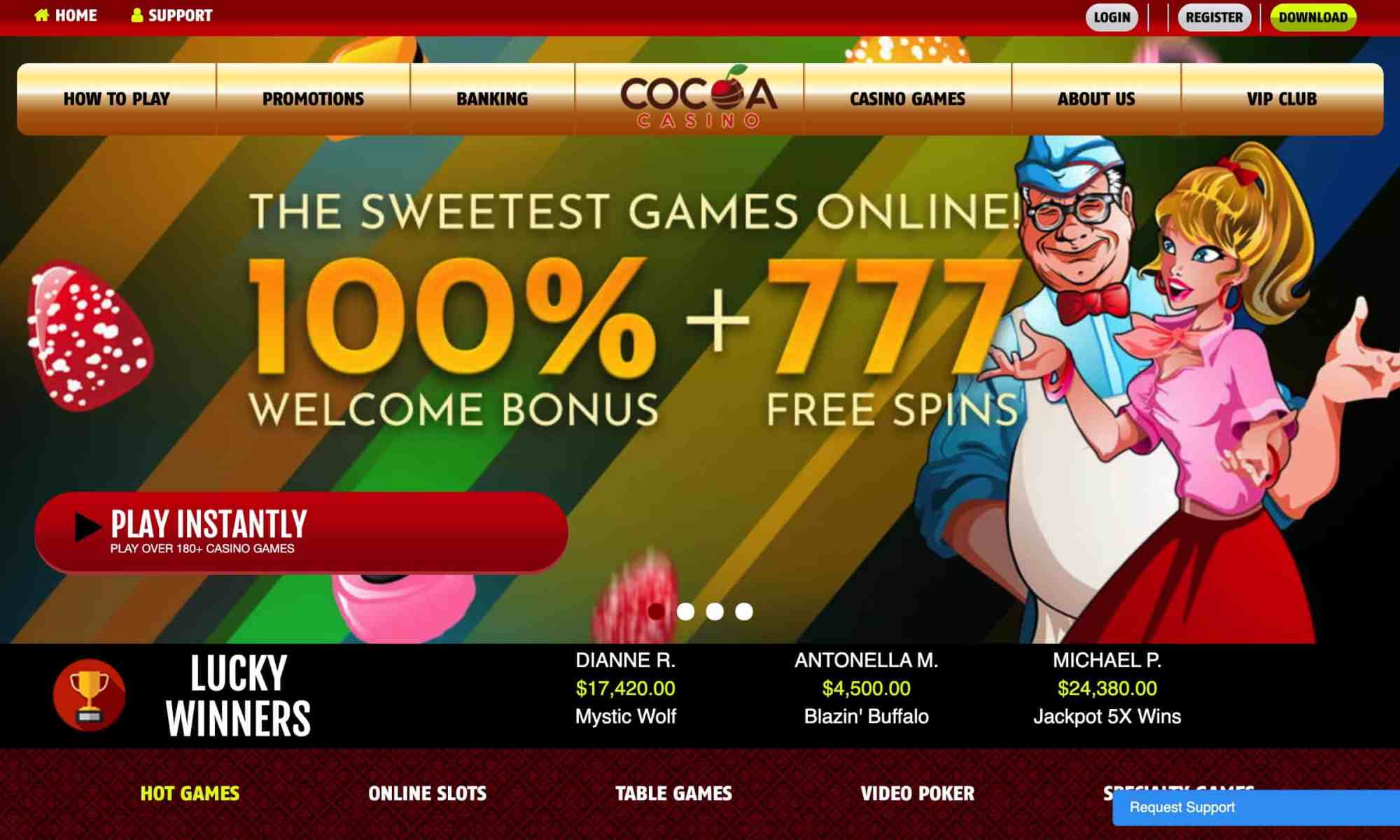 Cocoa Casino - claim 777 casino spins + 100% welcome offer