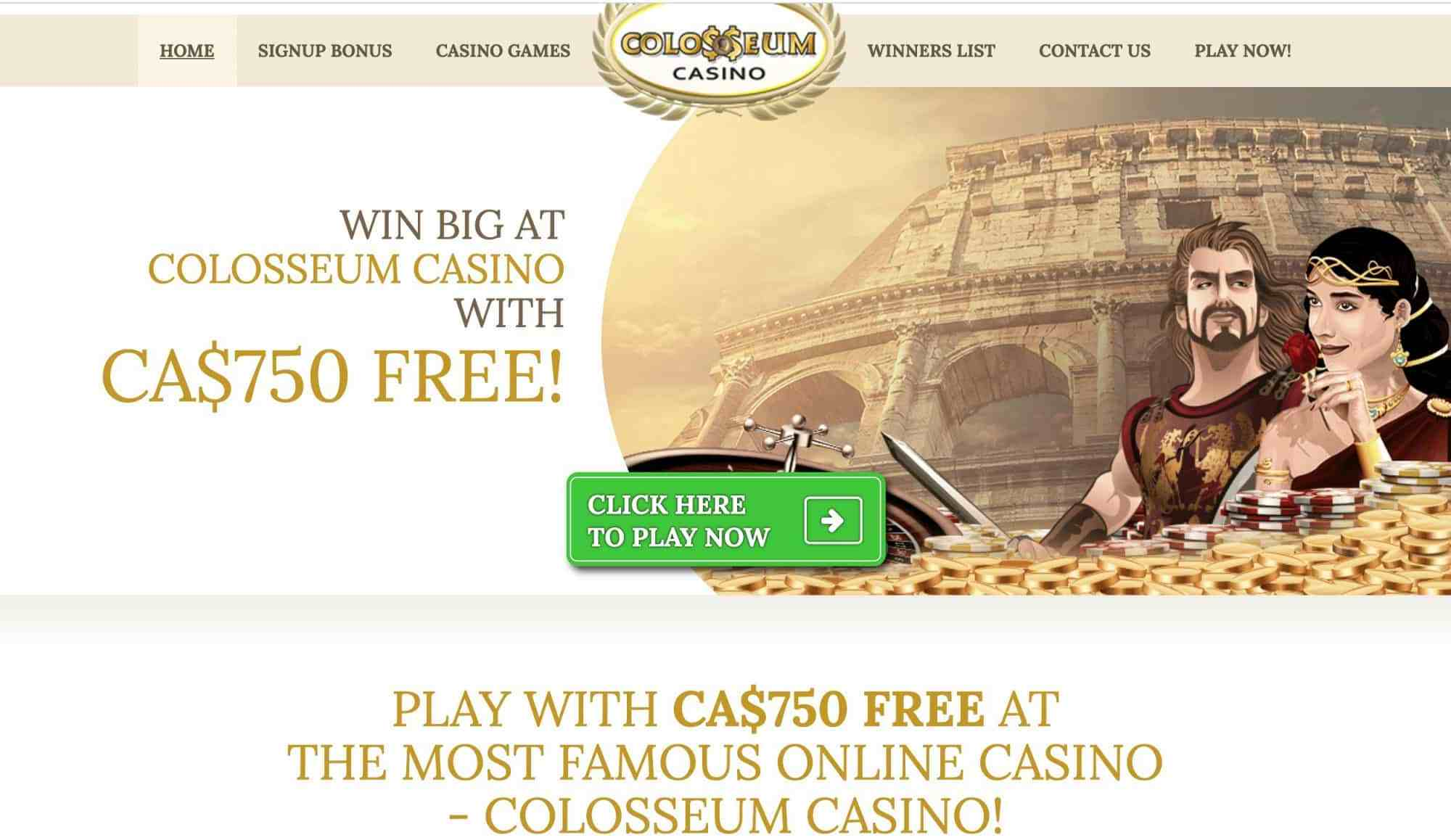 Colosseum Casino - 750% match bonus of up to $210 now!