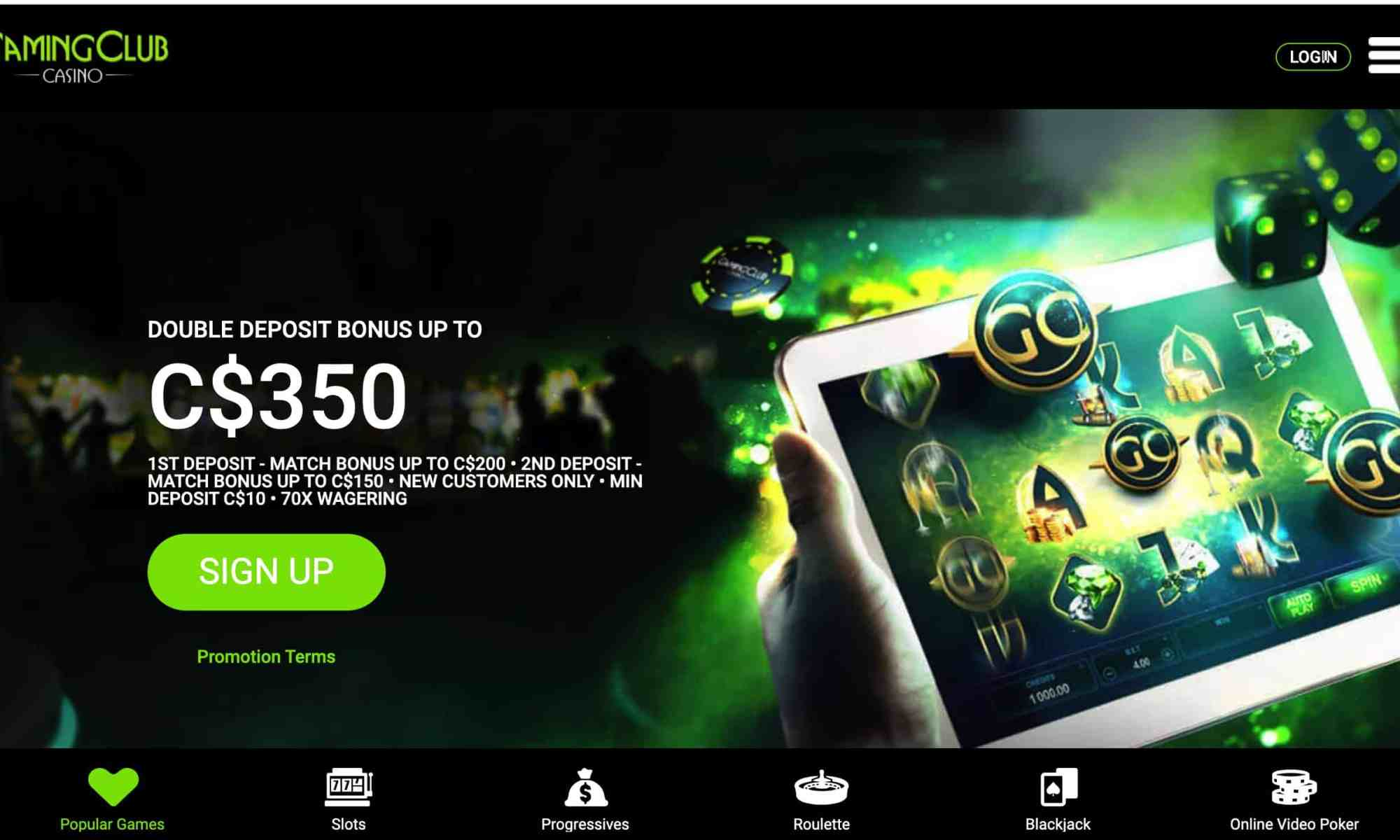 Gaming Club Casino - 250% match bonus of up to $200 free