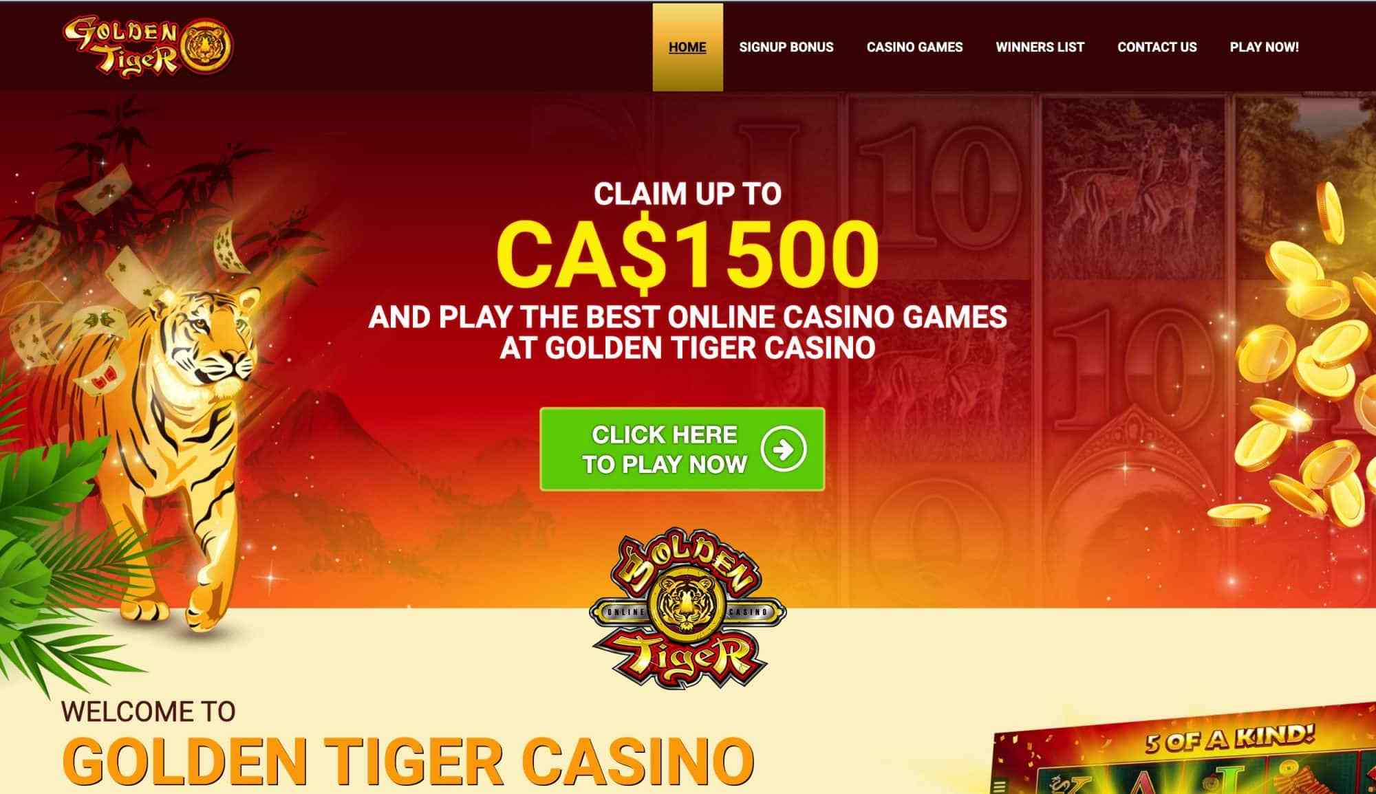 Golden Tiger Casino - Claim up to $1500 in free bonuses!