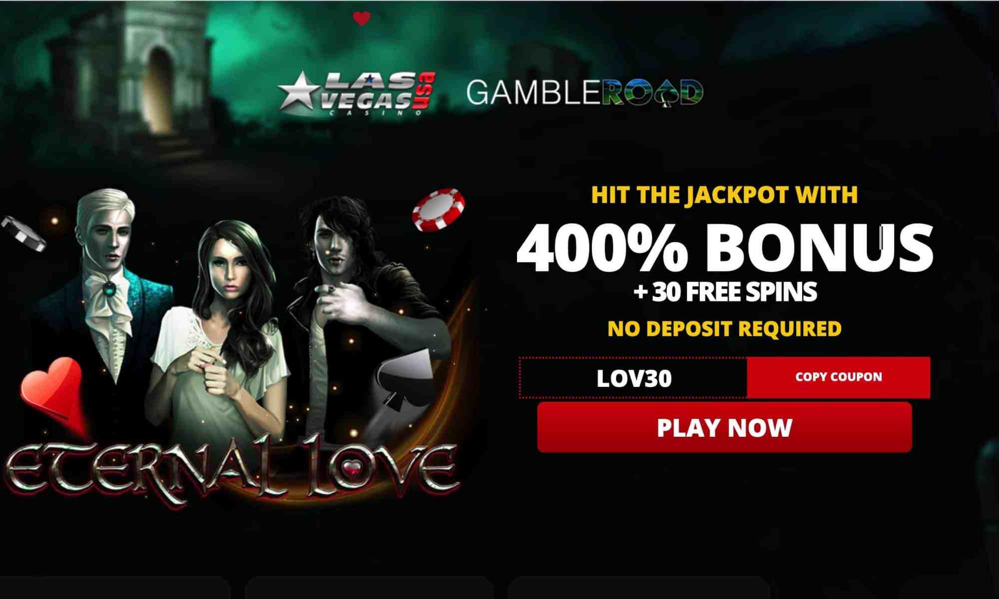 Las Vegas USA Casino - 30 free spins plus 400% bonus