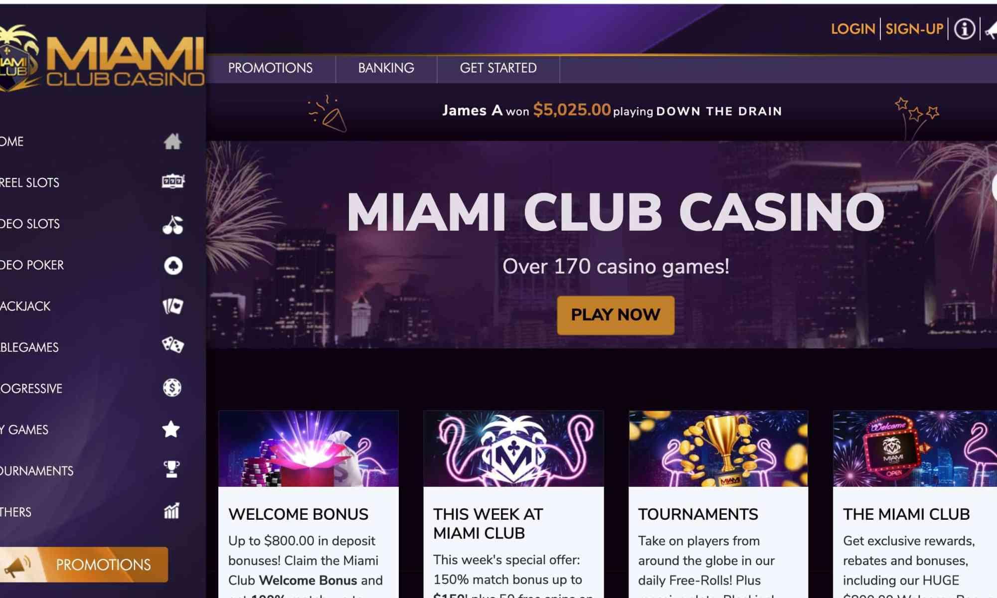Miami Club Casino - Get 200% on 1st deposit plus $10 free