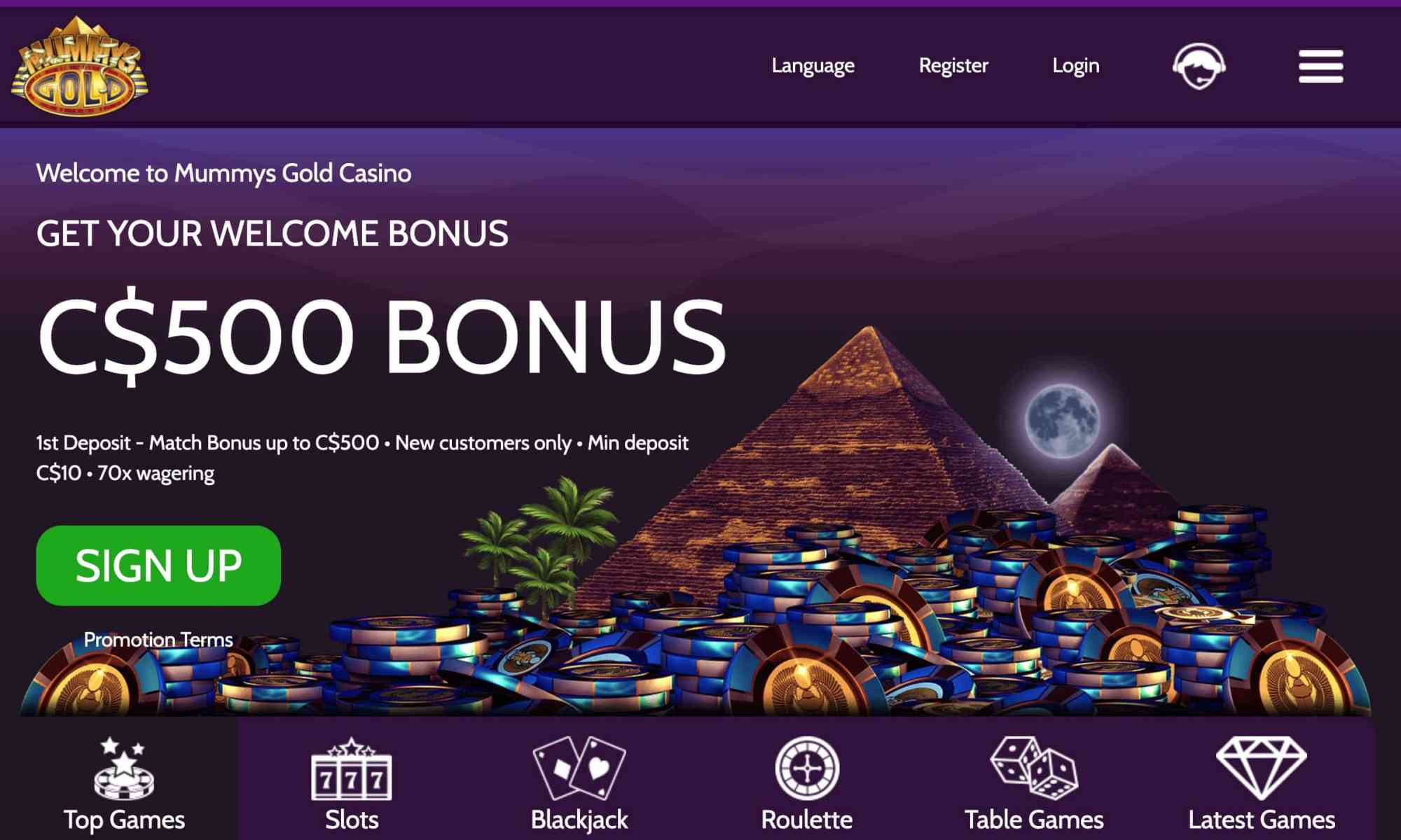 Mummys Gold Casino - 100% deposit bonus up to $500 bonus