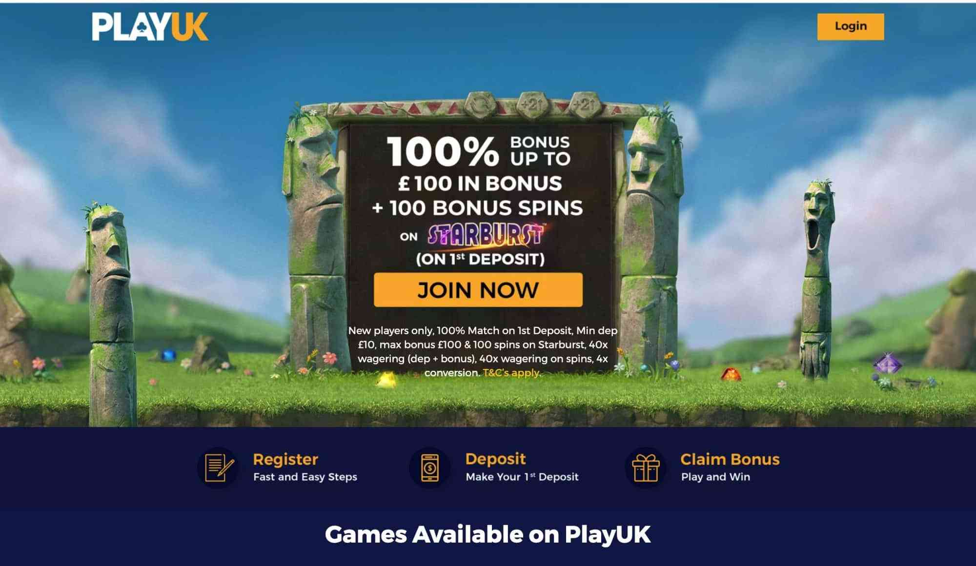 Play UK Casino - 100 free spins plus 100% match bonus!