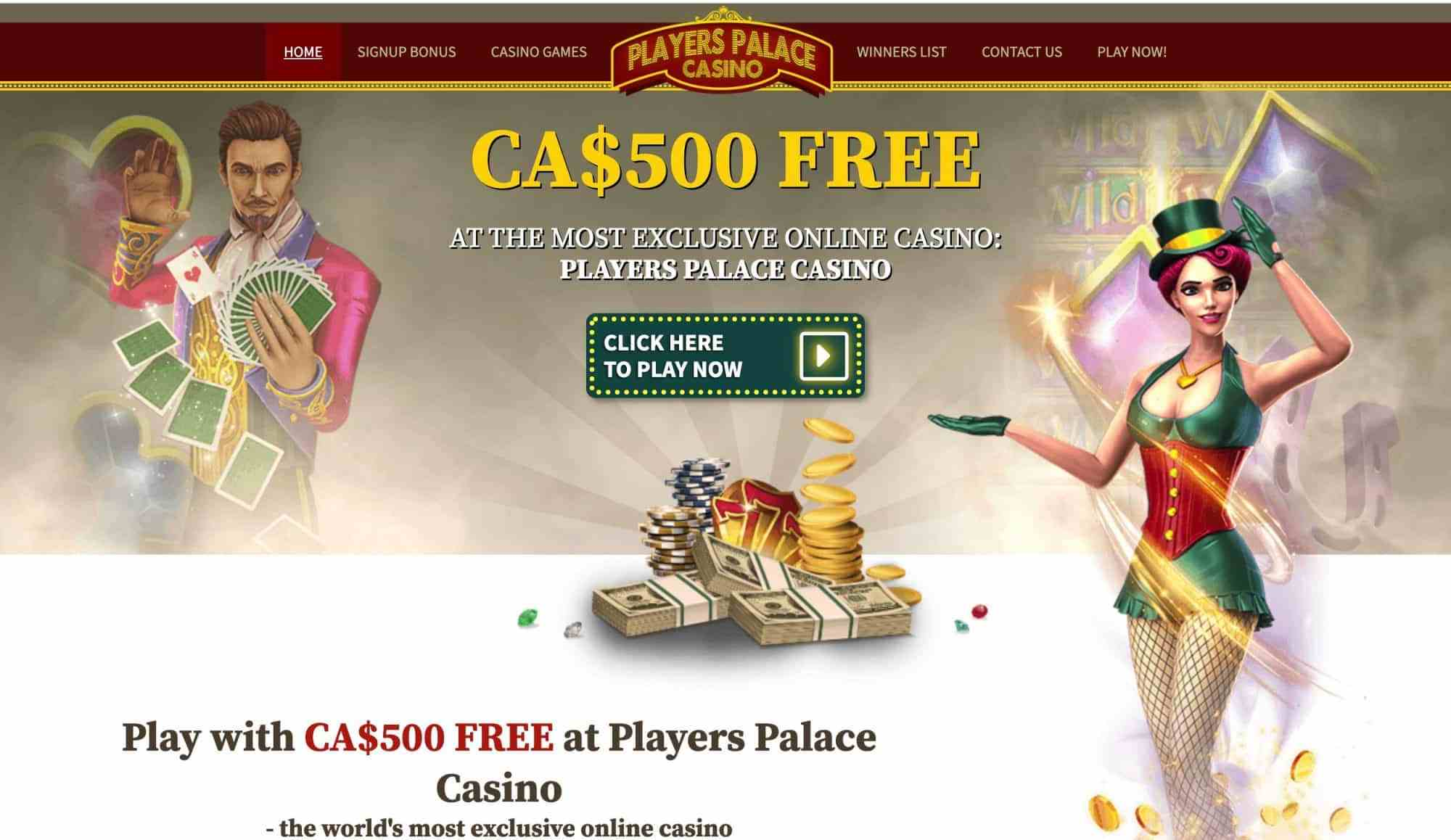 Players Palace Casino - Claim up to $500 free in welcome bonuses!