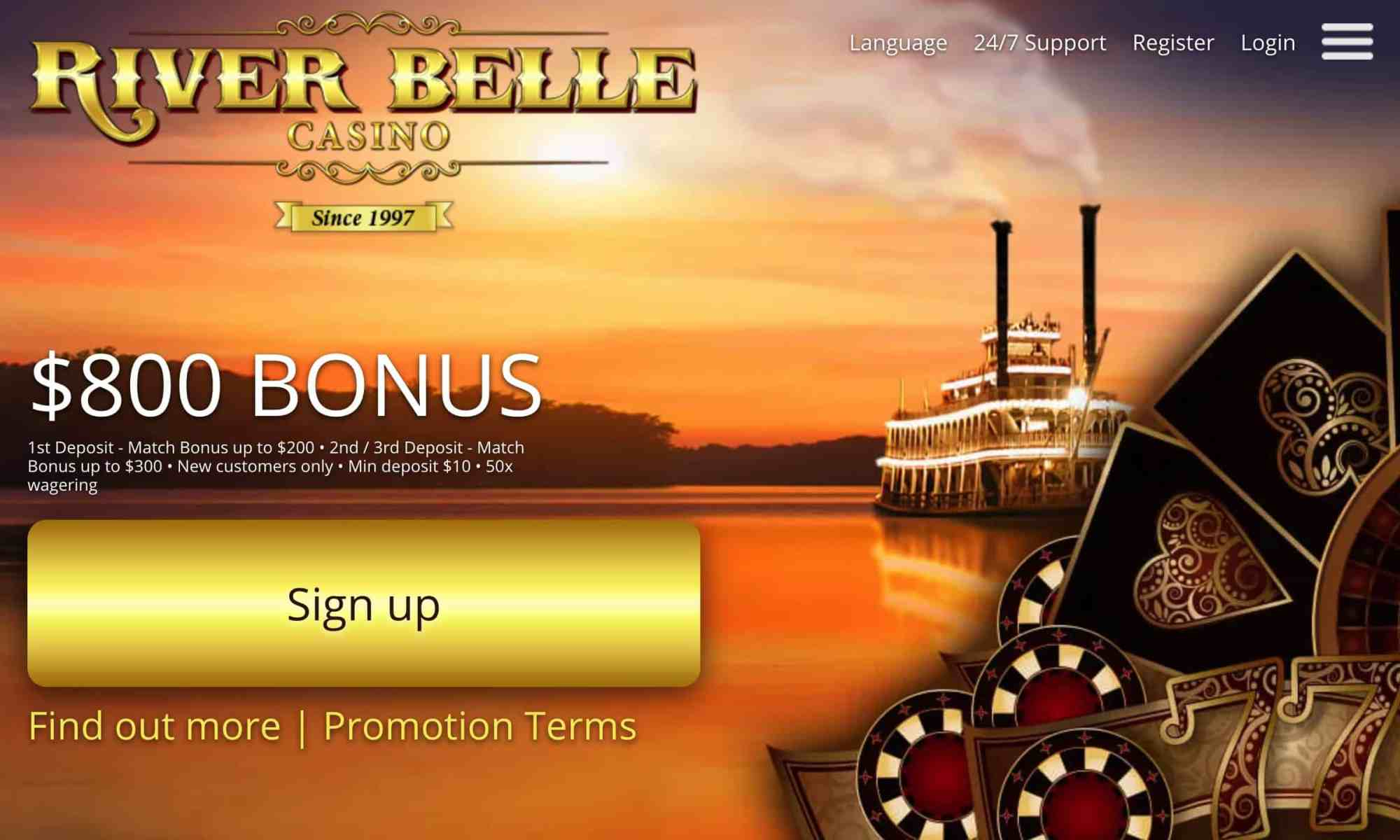 River Belle Casino - receive $800 on 3 deposits!
