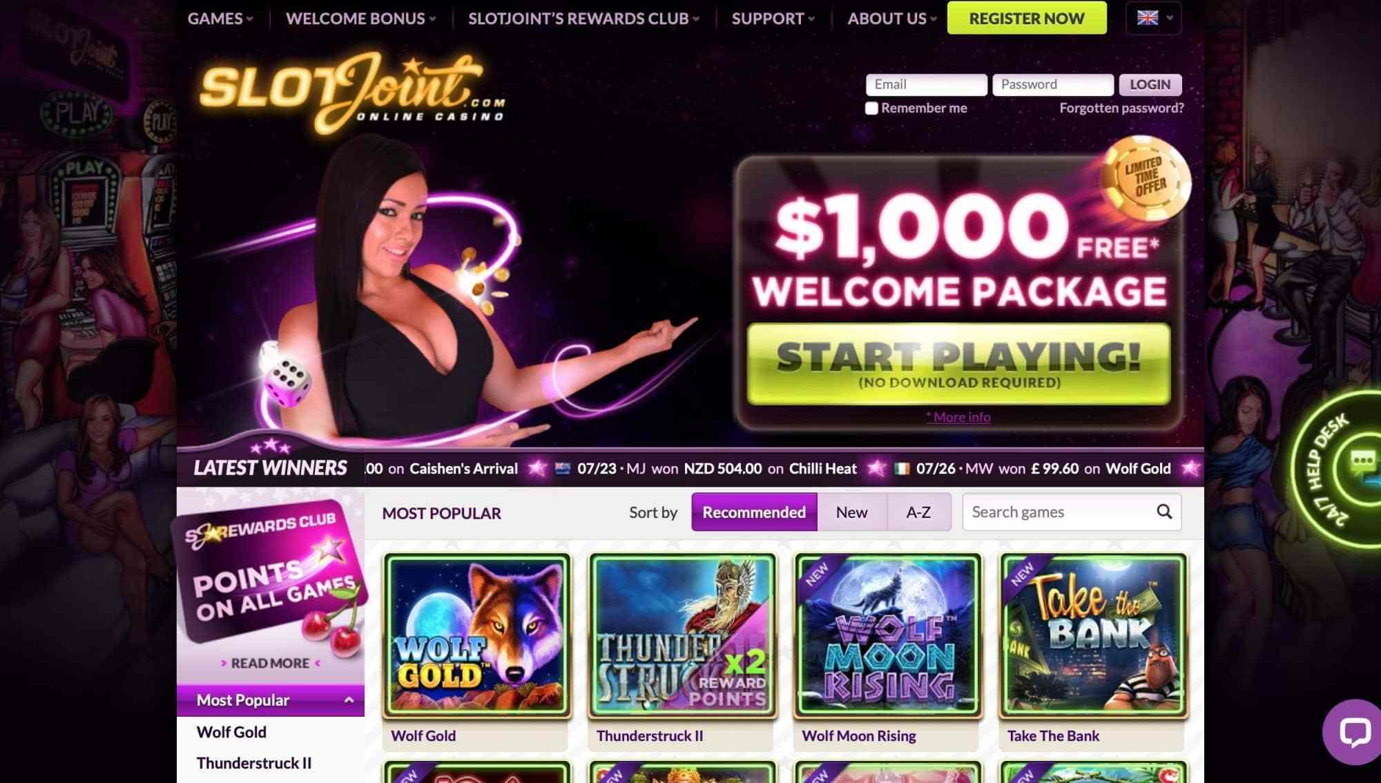 SlotJoint - free spins and 1000 bonus for 5 deposits