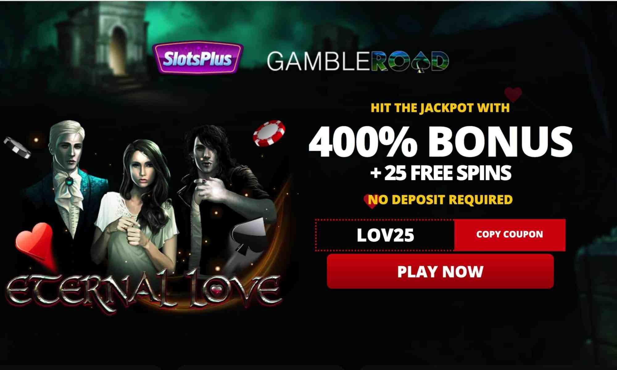 Slots Plus Casino - 25 free spins + 400% bonus