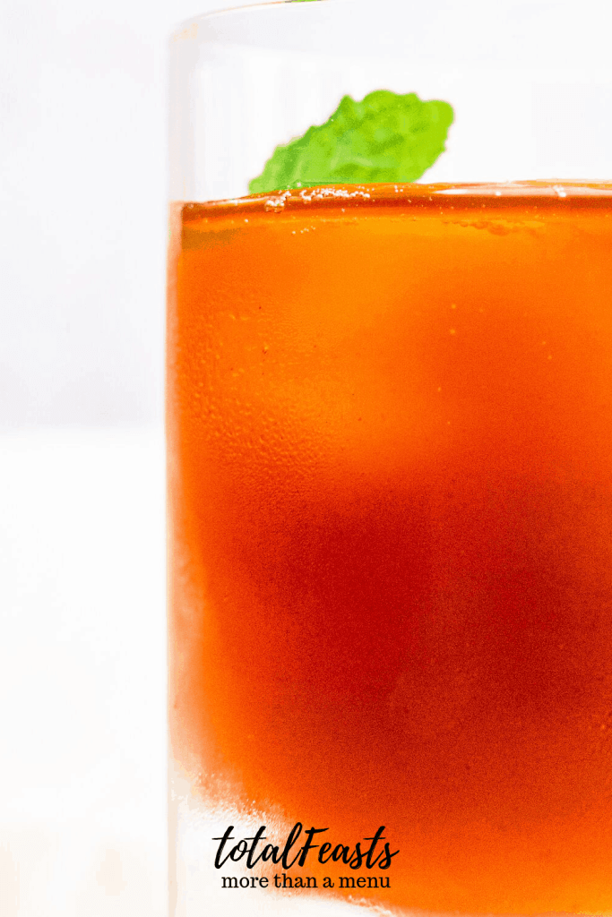 royal iced tea in glass with mint