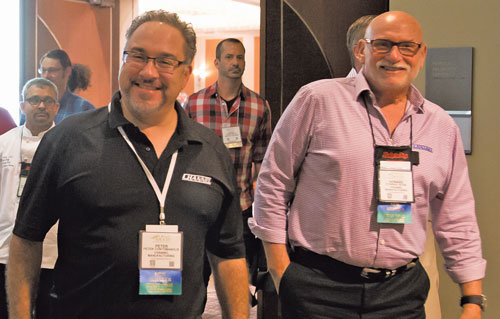Channel Manufacturing's Peter Contomanolis and Howard Rosenswach were among a large contingent of Tri-State foodservice manufacturers at the yearly event.