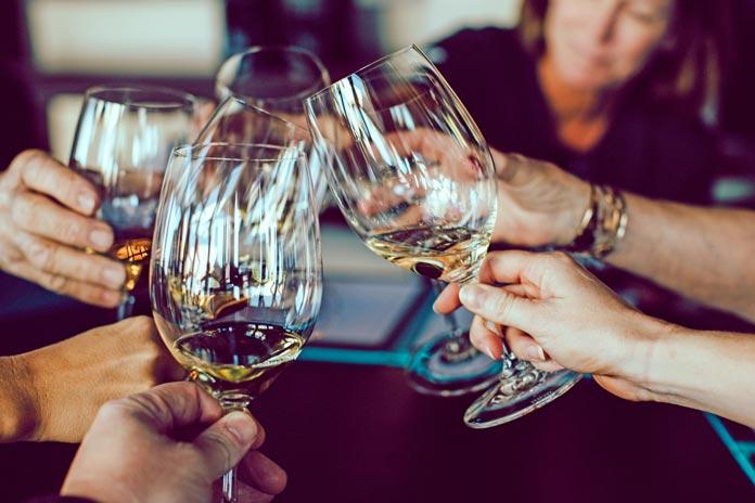 turkey and wine glasses toasting