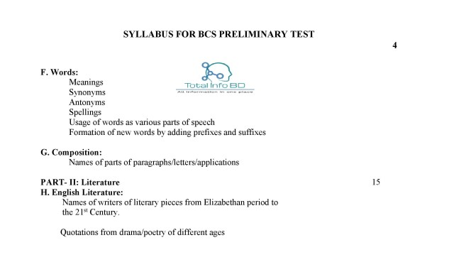 BCS Preliminary Syllabus - Total Info BD