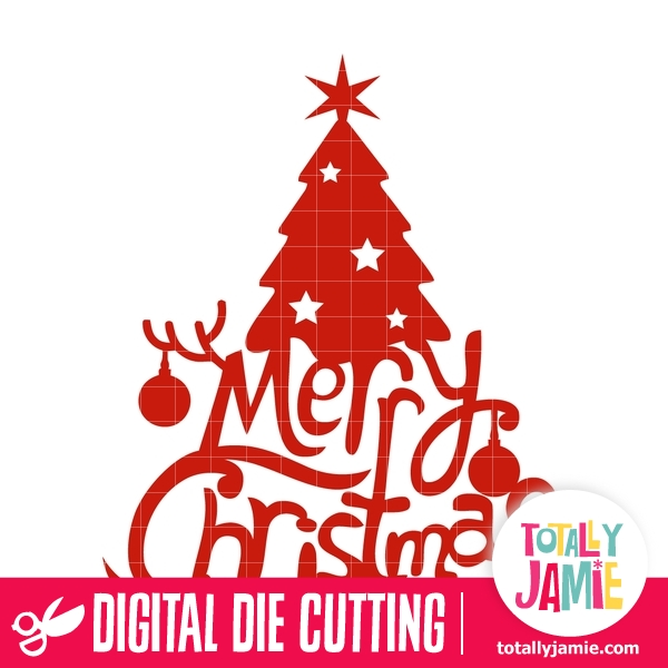 Merry Christmas Tree Lettering TotallyJamie SVG Cut