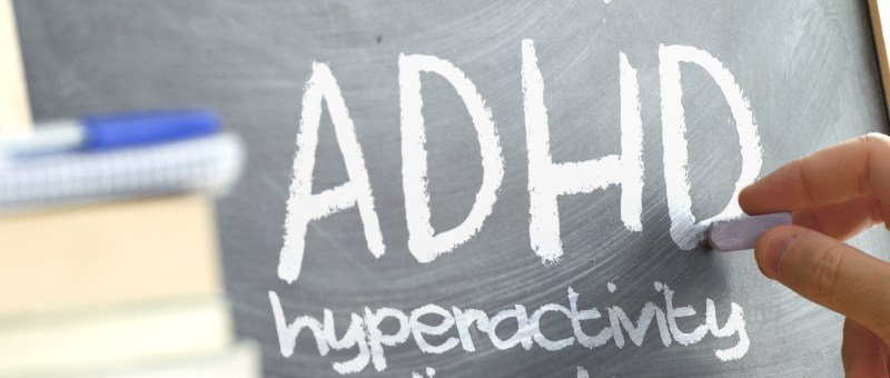 Attention Deficit Hyperactivity Disorder ADHD on a chalk board