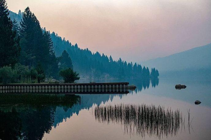 Hazy twilight at Upper Twin Lake.