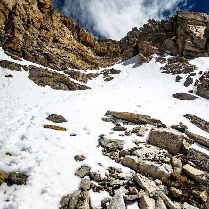 Retreat. After spending an hour and a half trying and ultimately failing to find a route up the last two hundred feet of Matterhorn Peak, I retraced my boot pack to the top of the west couloir. I was disappointed to miss the summit, but it's hard to be upset for long when one of the best ski descents in the Sierra Nevada awaits me!