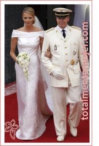 vestido de novia de princesa charlene y principe Alberto de Monaco