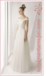 vestido de novia de princesa elegante largo escote barco