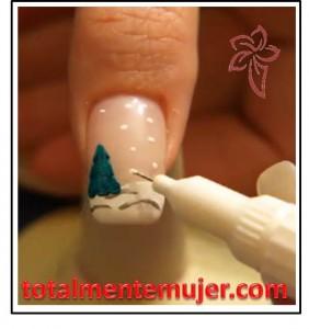 uñas decoradas nieve navideña