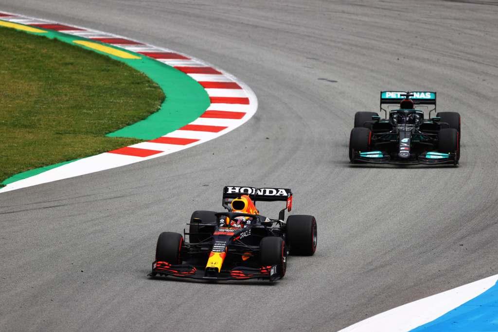 Max Verstapen Red Bull/Lewis Hamilton Mercedes F1 Spanish GP 2021Race