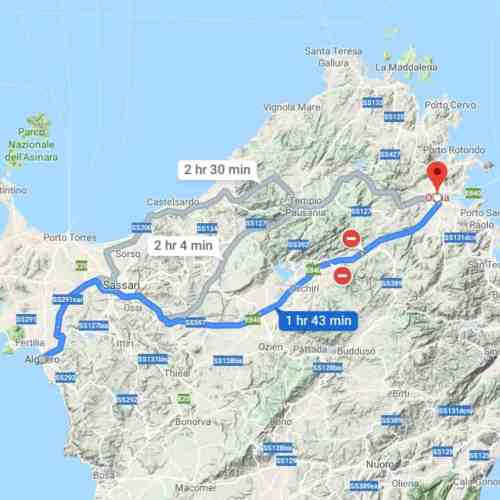 a map view of driving from alghero to olbia