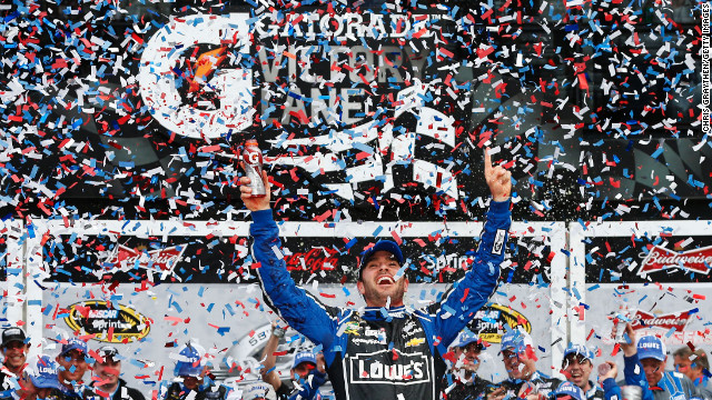 Jimmie Johnson celebrates in Victory Lane after winning the Daytona 500 race at Daytona International Speedway in Daytona Beach, Florida, Sunday, February 24, 2013. (Stephen M. Dowell/Orlando Sentinel/MCT via Getty Images)