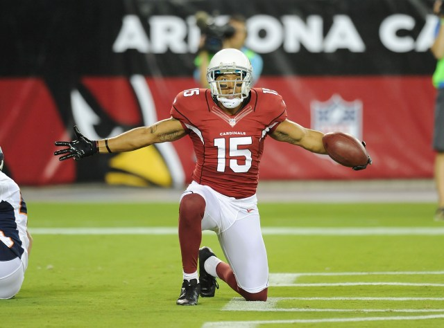 GLENDALE, AZ - AUGUST 30:  Michael Floyd #15 of the Arizona Cardinals celebrates a touchdown against the Denver Broncos at University of Phoenix Stadium on August 30, 2012 in Glendale, Arizona.  (Photo by Norm Hall/Getty Images)