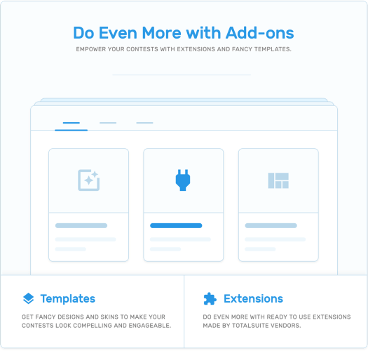 add-ons concept like Templates and extensions in TotalContest WordPress contest plugin.