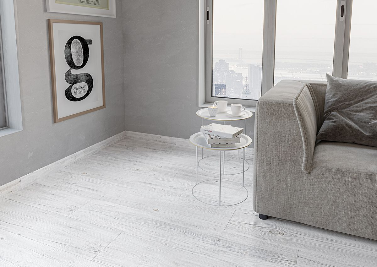 white washed wood effect skirting tile