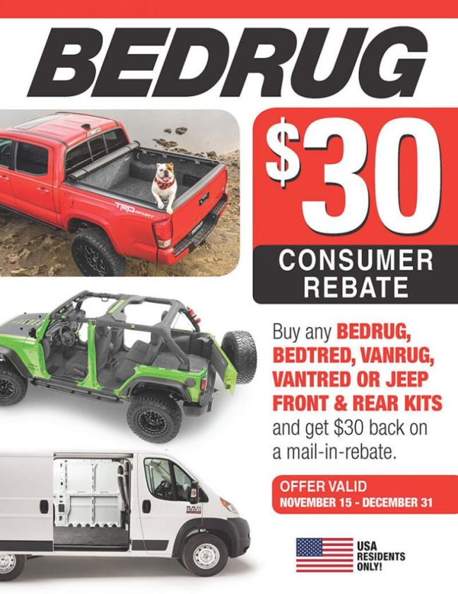 BedRug Promotion: $30 Rebate on Front and Rear Kits