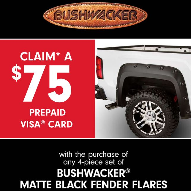 Bushwacker: $75 Prepaid Visa with 4-Piece Matte Black Fender Flares Purchase