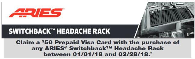 ARIES 25 Prepaid Card on Switchback Headache Rack