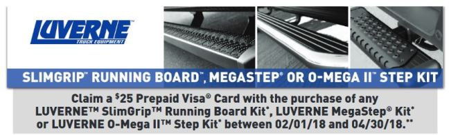 LUVERNE Truck Equipment: Get a $25 Prepaid Card on Select Running Board Kits