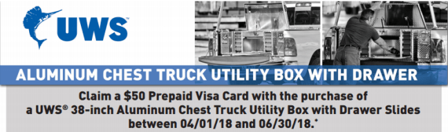 """UWS: Get a $50 Prepaid Card on 38"""" Aluminum Chest Truck Utility Boxes with Drawer Slides"""