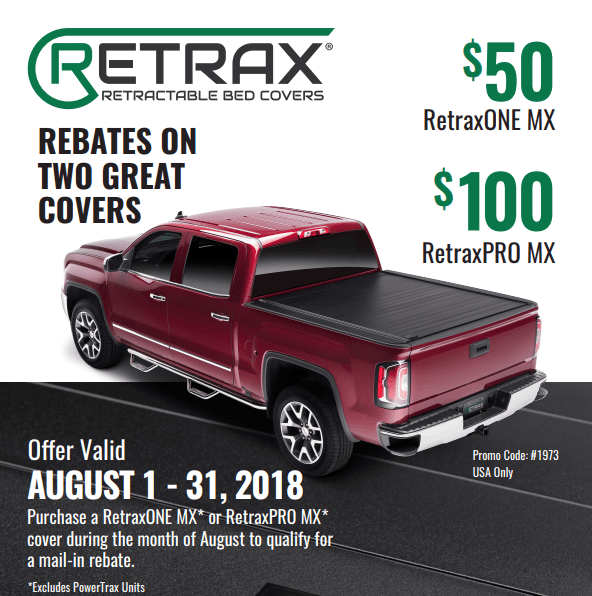 Retrax Up to 100 Rebate on Truck Bed Covers in August