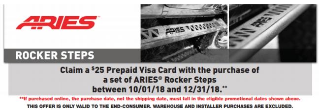 ARIES 25 Prepaid Card on Rocker Steps 2018