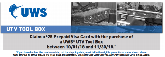 UWS: Get a $25 Prepaid Card with UTV Toolbox Purchase