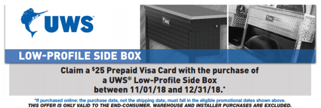 UWS: Get a $25 Prepaid Card on Low-Profile Side Box Purchases