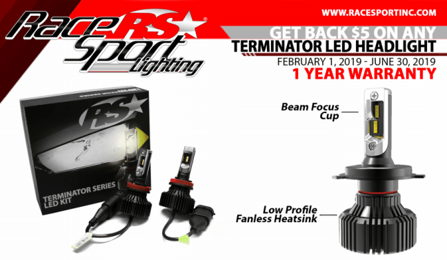 Race Sport Lighting: Get $5 Card with Terminator LED Headlight Purchase
